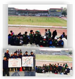 DPS children watching I-league football match between East Bengal and Minerva Punjab FC at Guru Nanak Stadium, Ludhiana.